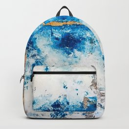 Blue Skies: a pretty, minimal abstract mixed-media piece in blue, white and gold Backpack