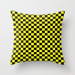 Yellow Black Checker Boxes Design Throw Pillow