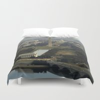 washington dc Duvet Covers featuring Washington DC Aerial Photograph by BravuraMedia