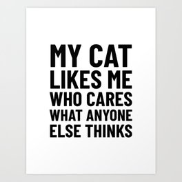 My Cat Likes Me Who Cares What Anyone Else Thinks Art Print
