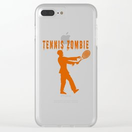 Funny Halloween Tennis Zombie Clear iPhone Case