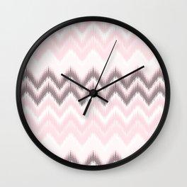 Girly blush pink pastel modern elegant ikat pattern Wall Clock