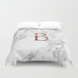Monogram rose gold marble B Duvet Cover