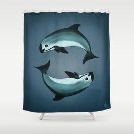 Spiraling ~ Vaquita Porpoise art by Amber Marine (Copyright 2015) Shower Curtain