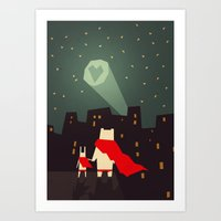 yetiland Art Prints featuring The city needs love by Yetiland