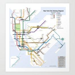 New York Subway Map Art Print
