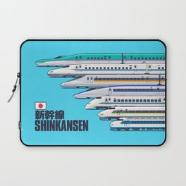 Shinkansen Bullet Train Evolution - Cyan Laptop Sleeve