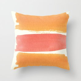Watercolor orange pink coral brushstrokes stripes Throw Pillow