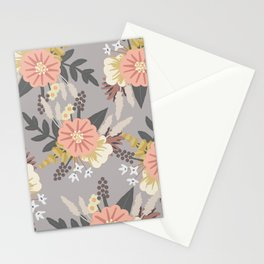 Pink and Gray Floral Pattern Stationery Cards