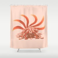 naruto Shower Curtains featuring Naruto Kyuubi Mode by Prince Of Darkness