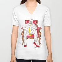 heels V-neck T-shirts featuring High Heels by Crafty Love Studio