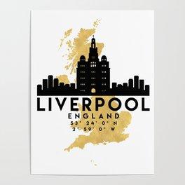 LIVERPOOL ENGLAND SILHOUETTE SKYLINE MAP ART Poster