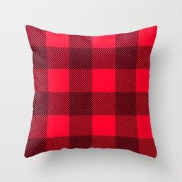 DigiPlaid Red Throw Pillow