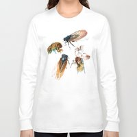 bugs Long Sleeve T-shirts featuring summer cicadas by Teagan White