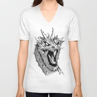 smaug V-neck T-shirts featuring Dragon Smaug by BeggaIng