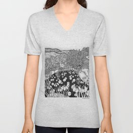 Zentangle Vermont Landscape Black and White Illustration Unisex V-Neck