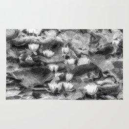 Water Lilys Monochrome Art Rug