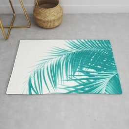 Palm Leaves Soft Turquoise Summer Vibes #1 #tropical #decor #art #society6 Rug