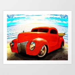 Surfin Forty Ford Pickup Art Print