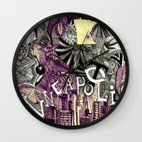 minneapolis Wall Clocks featuring Minneapolis  by Aubree Eisenwinter