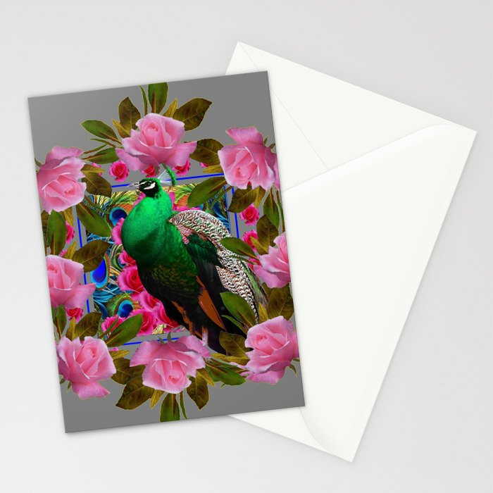 GREY COLOR PINK ROSES &  GREEN PEACOCK ART Stationery Cards