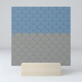Geometric Circle Shapes Beachy Fish Scale Pattern in Blue and Gray Mini Art Print