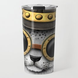 Steampunk Snow Leopard Cub Travel Mug