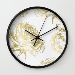 Gold Roses Wall Clock
