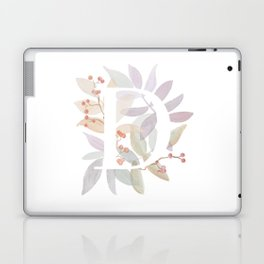 Floral Initial D - Rustic Watercolor Letter - Typography - Wreath Design Laptop & iPad Skin