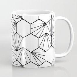 Peacock comb black white geometric pattern Coffee Mug