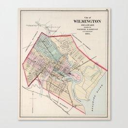 Vintage Map of Wilmington Delaware (1884) Canvas Print