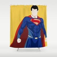 super hero Shower Curtains featuring Super by Mi Absurda Osadía