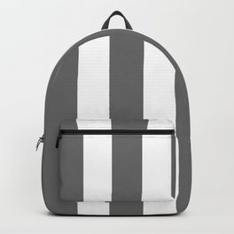 Dim gray - solid color - white vertical lines pattern Backpack