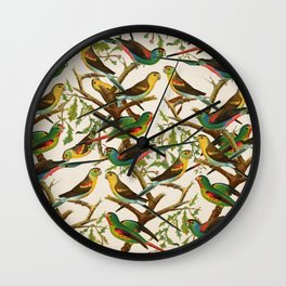 Whimsical red green colorful birds parakeets Wall Clock