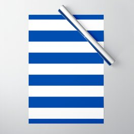 Dark Princess Blue and White Wide Horizontal Cabana Tent Stripe Wrapping Paper