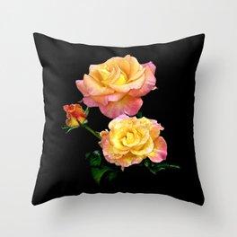 Daybreak roses on black Throw Pillow