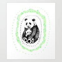 pandas Art Prints featuring PANDAS! by Sagara Hirsch