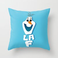 olaf Throw Pillows featuring OLAF by Matteo Gaggia Bomber-art