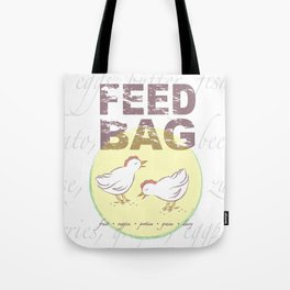 "FEED BAG ""Cluck Cluck"" Color Kitchen Print Tote Bag"