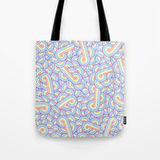 Rainbow and white swirls doodles Tote Bag