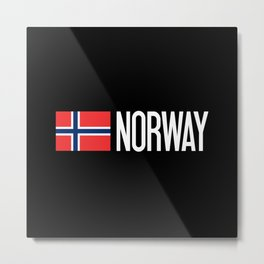 Norway: Norwegian Flag & Norway Metal Print