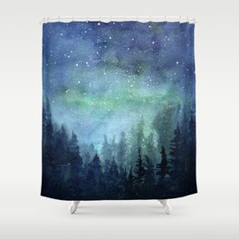 Watercolor Galaxy Nebula Northern Lights Painting Shower Curtain