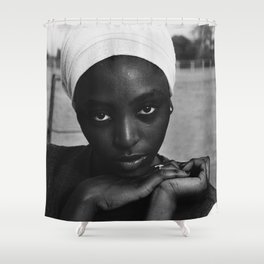 African American candid female form woman in turban black and white photograph / black and white photography Shower Curtain