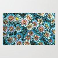 van gogh Area & Throw Rugs featuring Van Gogh Blue Chrysanthemum by naturessol