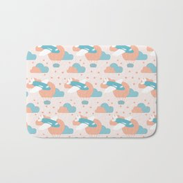 seamless pattern design with blue airplane and balloons Bath Mat