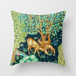 William Morris Deer by a Brook Tapestry Indigo Throw Pillow