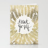 treat yo self Stationery Cards featuring Treat Yo Self – Gold by Cat Coquillette