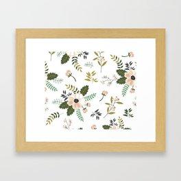 Winter floral - snowy blush petals Framed Art Print