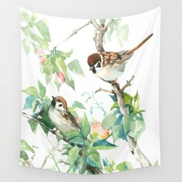 Sparrows and apple blossom art print by sureart society6 sparrows and apple blossom wall tapestry thecheapjerseys Gallery