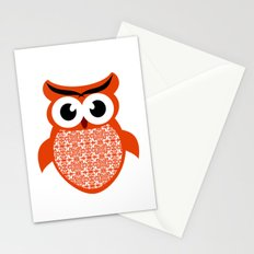 Red Patterned Owl Stationery Cards